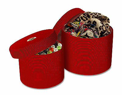 £5.99 • Buy 2 Round Fabric Storage Boxes With Lids In Red