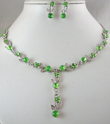 £3.99 • Buy Silver Tone  Lime Green Crystal  Necklace And  Earrings Set