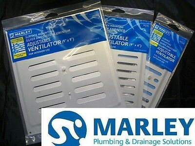Hit & Miss Silver MARLEY Aluminium Adjustable Ventilation Grille Wall Air Vent • 5.50£