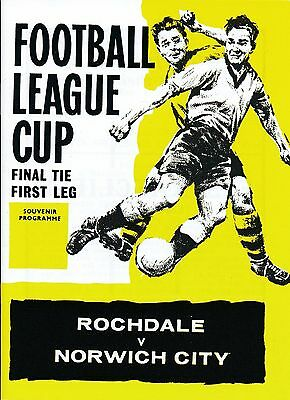 LEAGUE CUP FINAL 1962 Rochdale V Norwich City - HIGH QUALITY REPLICA PROGRAMME • 3.99£