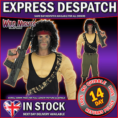 Fancy Dress Costume Mens Army Action Hero S • 31.95£