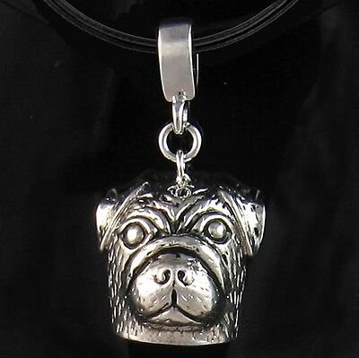 £24.99 • Buy Pug Dog Puppg Silver Pendant + Leather Necklace Chain