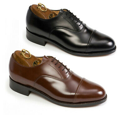 SANDERS OFFICERS LEATHER SHOES, UK-MADE, BLACK Or BROWN [70425] • 140£