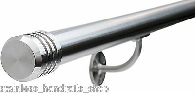 £147 • Buy Satin Polished Stainless Steel Metal Stair Bannister Handrail, 3-Groove End Caps