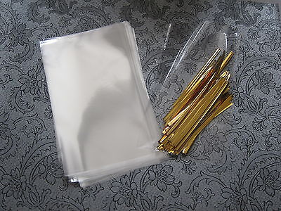 £4.20 • Buy CAKE POP WRAP KIT -3.5 X 5  CELLOPHANE CELLO BAGS & GOLD TIES, Recyclable Lolly