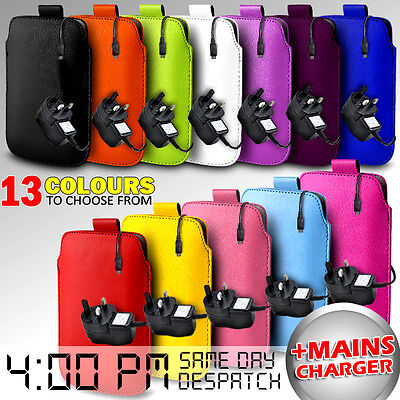 Leather Pull Tab Pouch Case Cover &  Mains Charger For Various Mobilephones • 4.49£