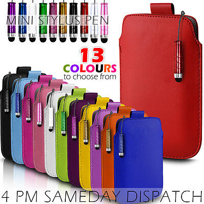 Leather Pull Tab Skin Case Cover Pouch+mini Stylus Fits Various Mobilephones • 2.79£