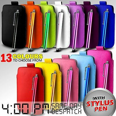Leather Pull Tab Skin Case Cover Pouch & Stylus For Various Zte Mobiles • 2.79£