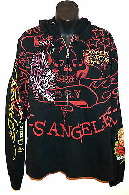 NEW Don ED HARDY By Christian Audigier Tiger Hoody Los Angeles Sweatshirt Black  • 53.80£