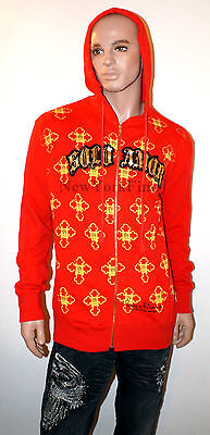 NEW CHRISTIAN AUDIGIER Ed Hardy PACO CHICANO HOODIE Graphic Red SweatShirt Mens • 55.57£