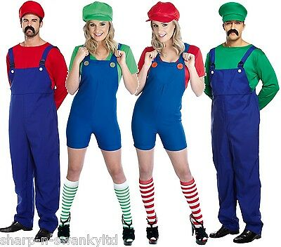 AU72.07 • Buy Couples Adults Mens & Ladies Mario AND Luigi 80s Fancy Dress Costumes Outfits
