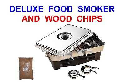 Large Deluxe Food Smoker+wood Chips Meat Poultry Fish Bbq Camping Cooker Oven • 48.50£