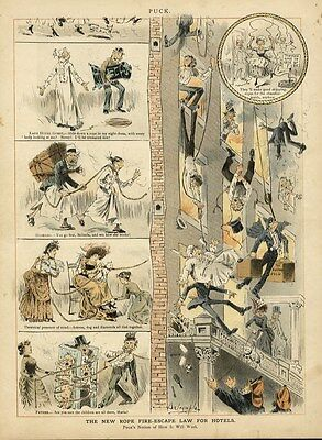 Fire Escape, New Rope Fire-escape Law For Hotels, Puck Chromolithograph, Rescue • 47.03£
