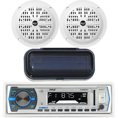 $80.99 • Buy New Marine Boat Indash AM/FM MP3 USB SD AUX IPod Stereo, 2x Speakers + Cover