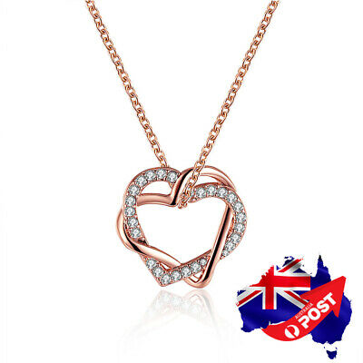 AU7.99 • Buy New 18K Rose Gold Filled Women's Heart Pendant Necklace With Swarovski Crystal