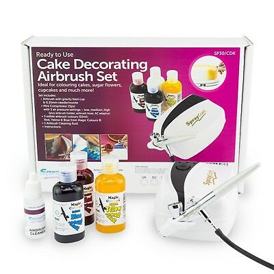 Cake Airbrush Decorating Kit Includes Compressor, 3 Colours & Cleaner Cake Craft • 79.99£