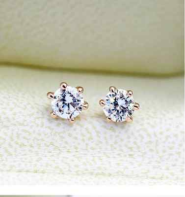AU6.99 • Buy New 18K Rose Gold GF 6MM Classic SWAROVSKI Lab Diamond Stud Earrings Stunning