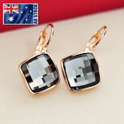 AU9.99 • Buy New 18K Rose Gold GF Fashion Square Hoop Huggie Earrings With SWAROVSKI CRYSTAL