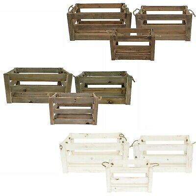 E2e Vintage Farm Shop Wooden Slatted Apple Crate Gift Display Storage Box • 11.49£
