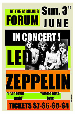 $12 • Buy 1970's Heavy Metal: Led Zeppelin At The Forum In Los Angeles Concert Poster 1973