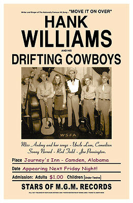$12 • Buy 1940's Country Great: Hank Williams & Drifters  Alabama Concert Poster 1947