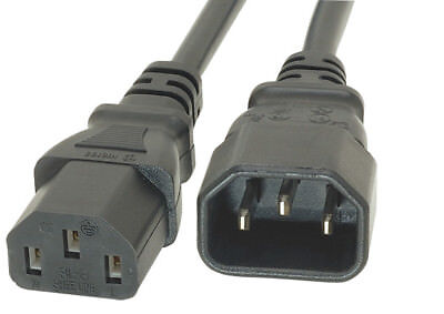 0.5m Power Extension Cable IEC Kettle Male To Female  Black UPS Lead C13 - C14 • 2.79£