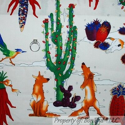 BonEful Fabric FQ Cotton Quilt White Red Green L Xmas Light Coyote Desert Scenic • 7.75£