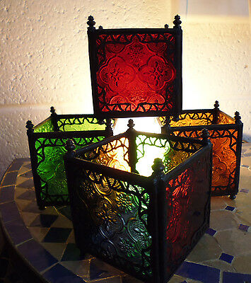£13.95 • Buy Authentic Handmade Moroccan Candle Holder - Choice Of Coloured Glass Available