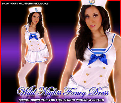 Fancy Dress Costume Sexy White Sailor Girl Med 10-14 Navy Nautical Inc Hat • 13.95£