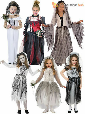 Girls Ghost Zombie Corpse Bride Fancy Dress Up Halloween Book Week Kids Costume • 11.16£