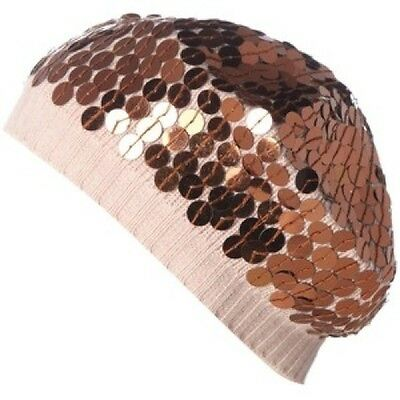 £7.50 • Buy Lisbeth Dahl RRP £22 Pink & Brown Sequin Women's Beanie Hat Free UK Shipping NEW