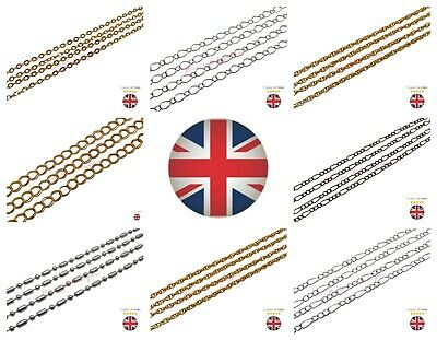 1 Metre Of New Chain Various Styles Silver Links Jewellery Colours Free UK Post • 1.29£