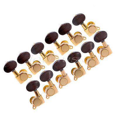 $ CDN34.72 • Buy 6 Left+6 Right Acoustic Guitar Tuning Peg Machine Head Amber Brown Button