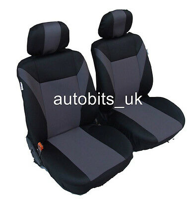1+1 Universal Grey-black Front Seat Covers Car Van Motorhome Bus Mpv Truck New • 12.39£