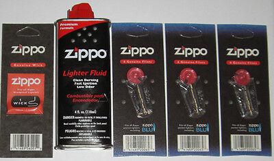 $9.85 • Buy 3 Packs Of 6 Genuine Zippo Flints, 1 Wick, And 4 Oz Can Lighter Fluid FREE SHIP