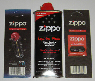 $8.90 • Buy Zippo 1 Pack Of 6 Flints, 1 Wick, And 4 Oz Can Lighter Fluid FREE SHIPPING