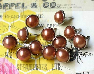 $1.99 • Buy 12mm PEARL BRADS- BRONZE W/Silver Trim Scrapbook CardMaking 10pc