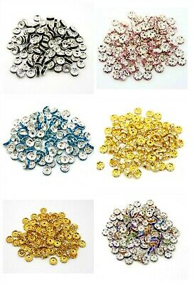 £2.99 • Buy 100 Pcs Quality Rhinestone Spacer Beads Gold & Silver Plated 4mm 6mm 8mm 10mm ML