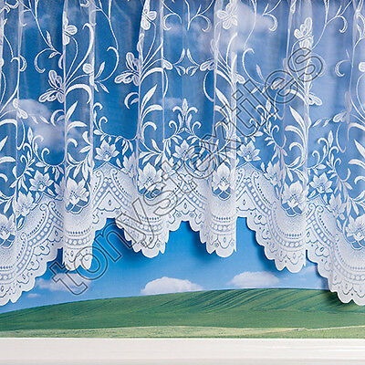 £12.99 • Buy Quality Jardiniere New Butterfly Spring Floral Net Curtain Panel 18 Sizes White