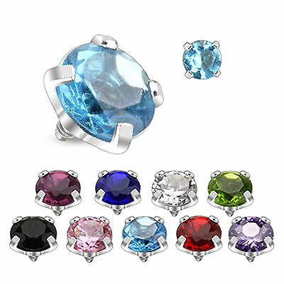 Round Prong Setting Gem Micro Dermal Anchor Surface Head Implant Top Crystal  • 2.99£