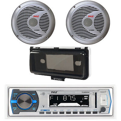 $74.99 • Buy New Pyle PLMRB29W Marine Boat Yacht AM/FM MP3 USB Stereo +Cover 2 6.5 Speakers