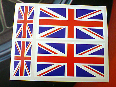 UNION JACK FLAGS 100mm & 50mm Set Of 4 UK GB Van Car Bumper Stickers Decals • 2.15£