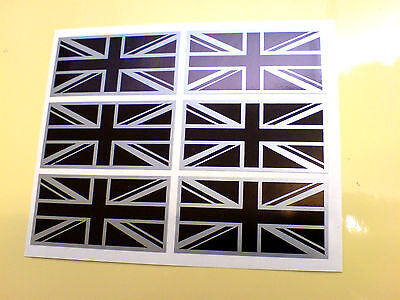 UNION JACK FLAGS Black & Silver Set Of 6 UK GB Car Bumper Stickers Decals 50mm • 2.49£