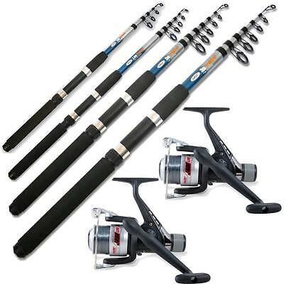 £25.95 • Buy 2 Telescopic  Ngt Fishing Rods And 2 Fishing Reels 6ft 8ft 10ft 12ft Travel Set