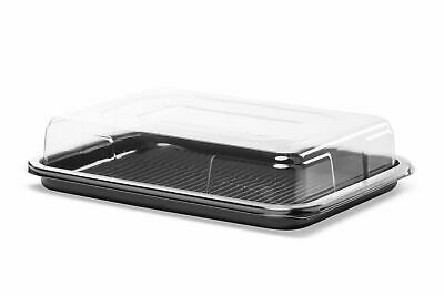 £57 • Buy 50 X Black Small Rectangular Sandwich Platters + Clear Lids Cakes Buffets Party
