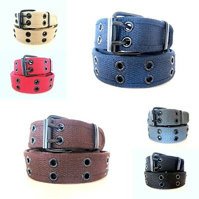 $5.69 • Buy KIDS Stitched Canvas Fabric 2 Holes Row Grommets BOYS GIRLS CHILDRENS BELT