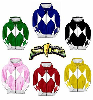 Adult TV Show Mighty Morphin Power Rangers Ranger Costume Hooded Zip Sweatshirt • 42.30£