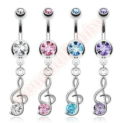 Gem Treble Clef Music Note Belly Button Bar Ring Navel Dangle Body Jewellery • 2.32£