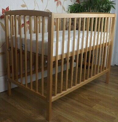 New Solid Beech Dropside Cot  And Deluxe Cot Mattress /Space Saver / Mini Cot • 99.89£