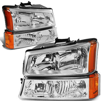 $68.88 • Buy For 2003-2006 Chevy Silverado Chrome Housing Amber Corner Headlight Bumper Lamps
